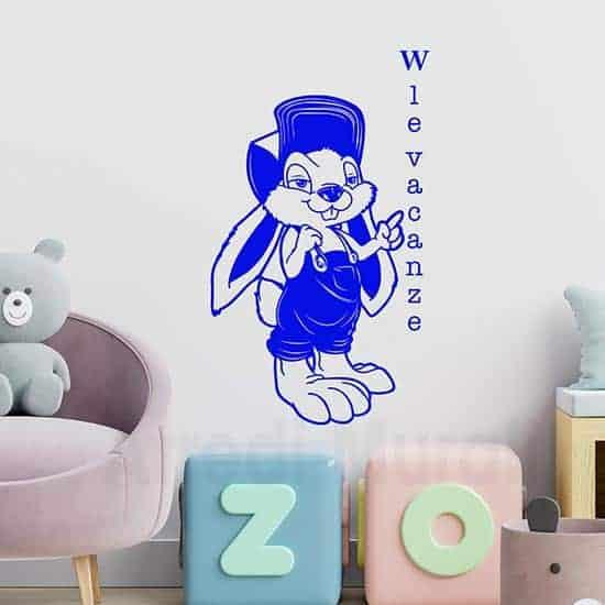 disegno coniglietto in adesivi murali colore blu