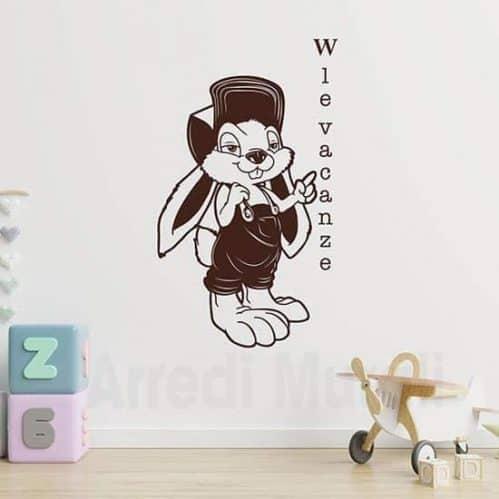 disegno coniglietto in adesivi murali colore marrone