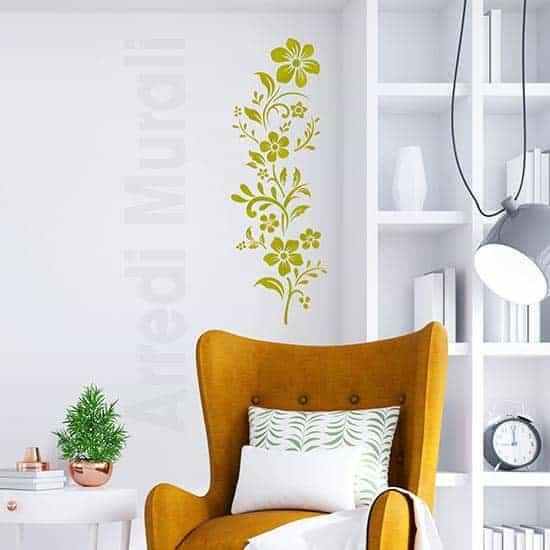 Fiori adesivi per interni verticali intagliati color oro