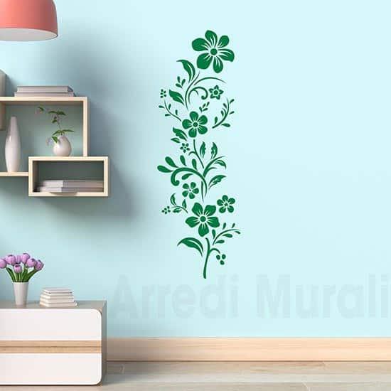 desivi murali fiori verticali verde