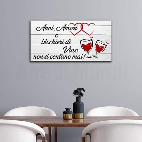 Quadro moderno da parete con frase sul vino