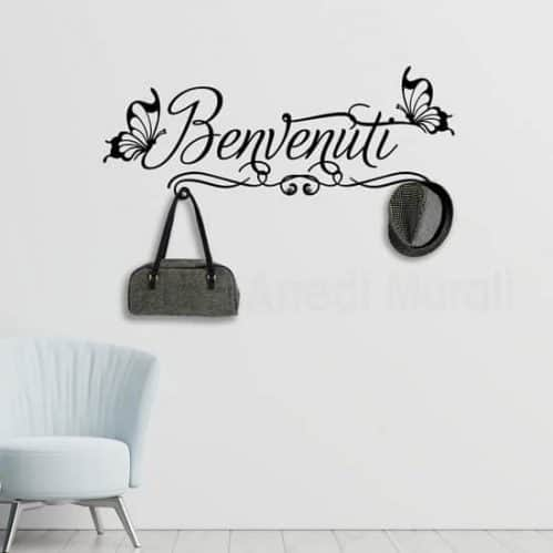 Adesivi da parete appendiabiti benvenuti