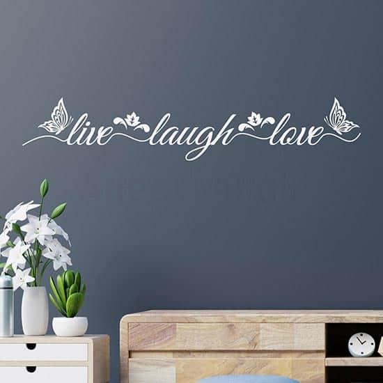 Adesivi murali live laugh love, decorazioni da parete