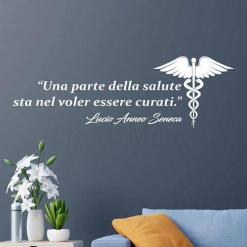 Frase adesiva di Seneca sulla salute, adesivi murali