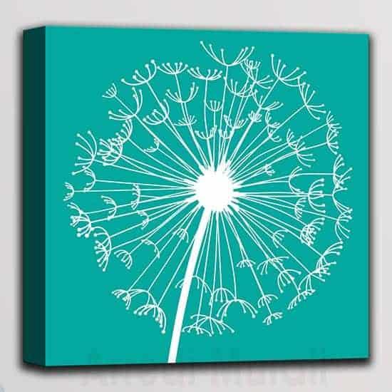 quadretto moderno soffione in arte digitale singola tela colore verde