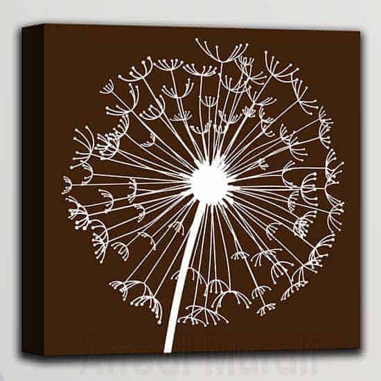 quadretto moderno soffione in arte digitale singola tela colore marrone