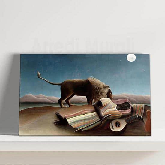 Quadro La zingara addormentata di Rousseau, stampa su tela