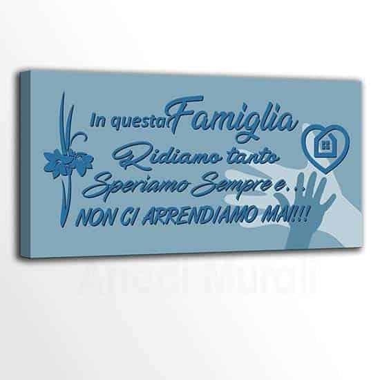 tela moderna frase famiglia tonalità blu