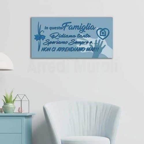 quadro su tela con frase famiglia per decori da parete