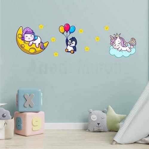animaletti colorati adesivi per decorare le camerette