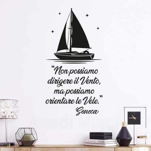 Adesivi murali frase sul vento di Seneca