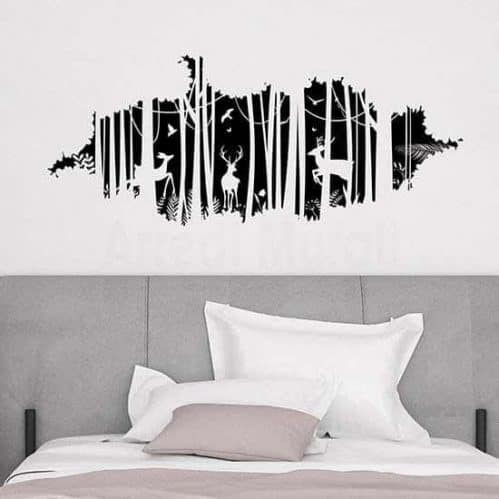 adesivi murali trompe l'oeil con disegno di foresta