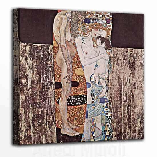 Le tre età della donna di Gustav Klimt riprodotto su tela