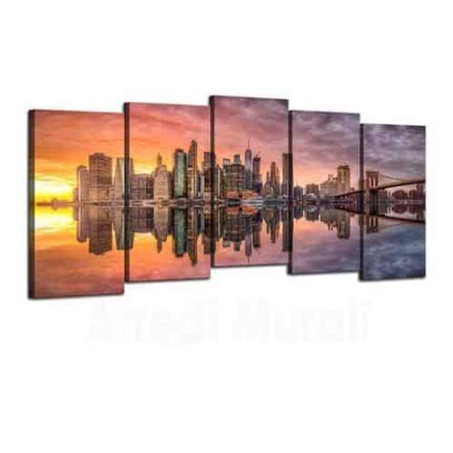5 tele con paesaggio al tramonto di new york