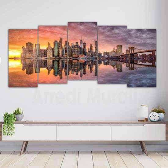 Quadri con paesaggio newyorkese 5 tele canvas