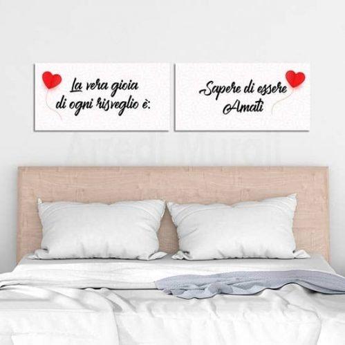 Quadri su tela per camera da letto, 2 tele moderne con frase