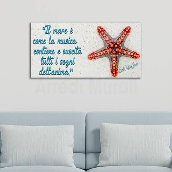 Quadro su tela con citazione sul mare, decorazioni