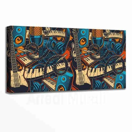 tela moderna colorata con strumenti musicali