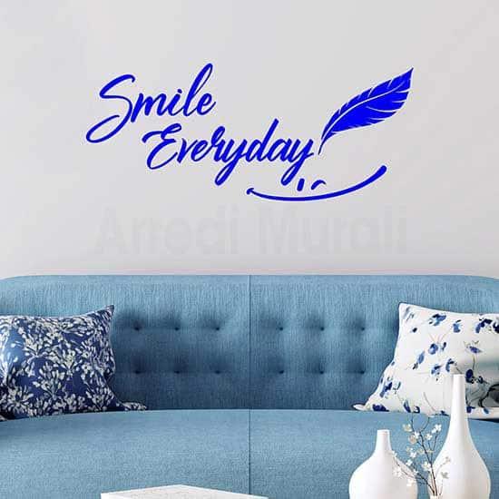 Scritta adesiva smile colore blu