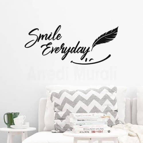 Scritta adesiva smile everyday colore nero