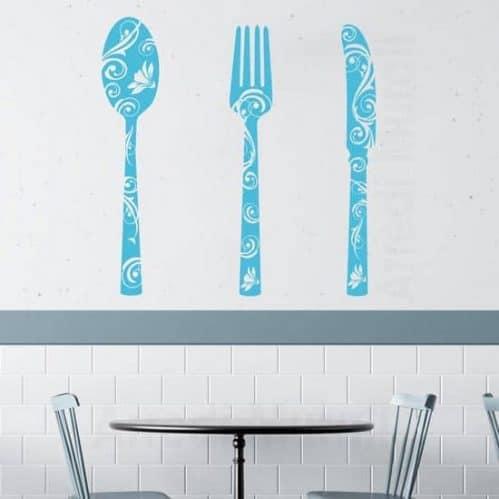stickers murali 3 posate adesive con intaglio floreale per la cucina o ristorante