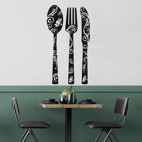 posate adesive :cucchiaio forchetta coltello in stickers murali per la cucina o ristorante