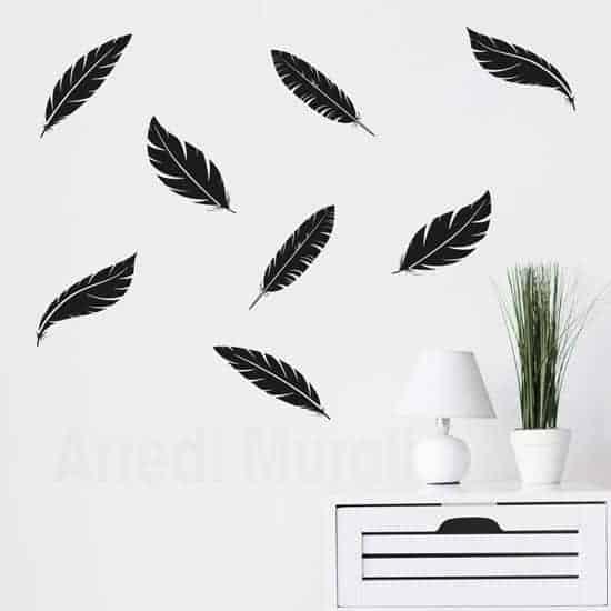 adesivi da parete con 8 piume color nero