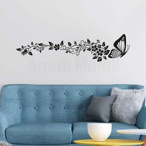 Decorazione adesiva con farfalla e fiori