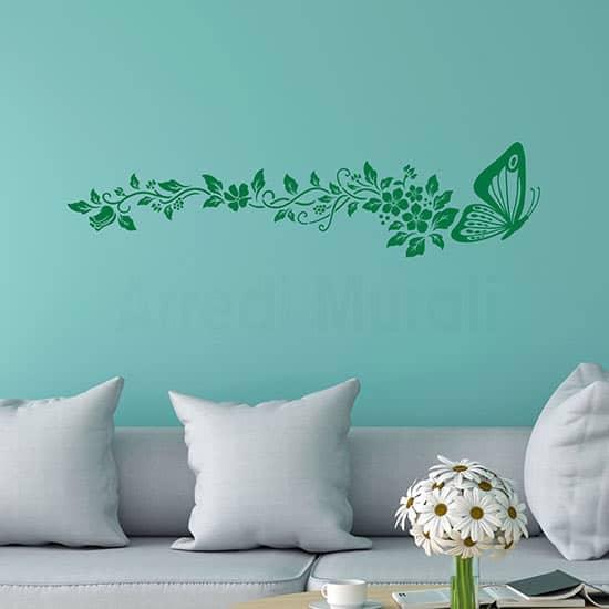 Decorazione adesiva con farfalla e fiori, adesivi murali