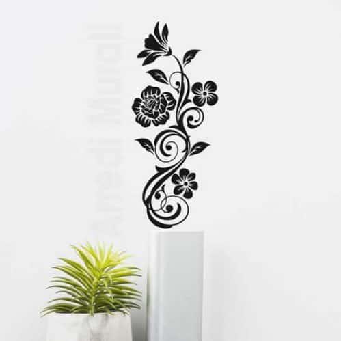 Fiori stickers murali verticali, adesivi da parete floreali