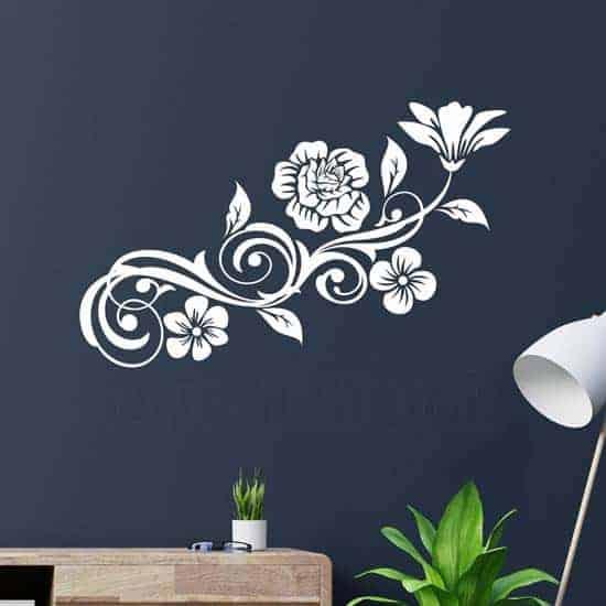 Fiori stickers murali verticali, adesivi da parete