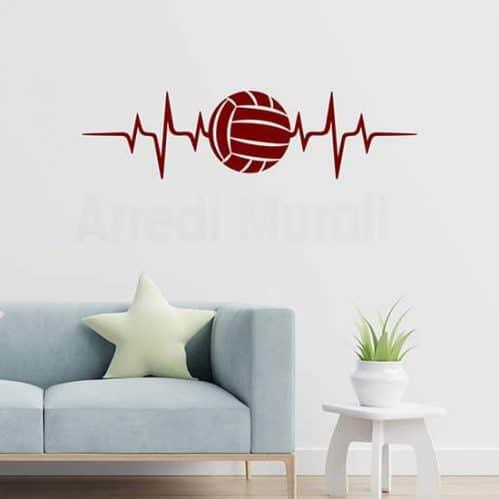 Adesivi murali amore per la pallavolo, decorazione adesiva