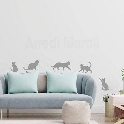 adesivi murali con 5 gatti da applicare singolarmente