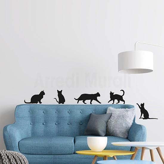 Adesivi murali 5 gatti da applicare a piacimento