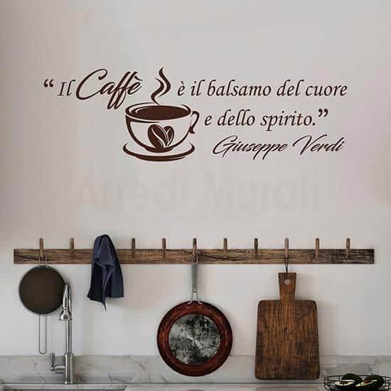 adesivi murali caffe con citazione pareti cucina bar