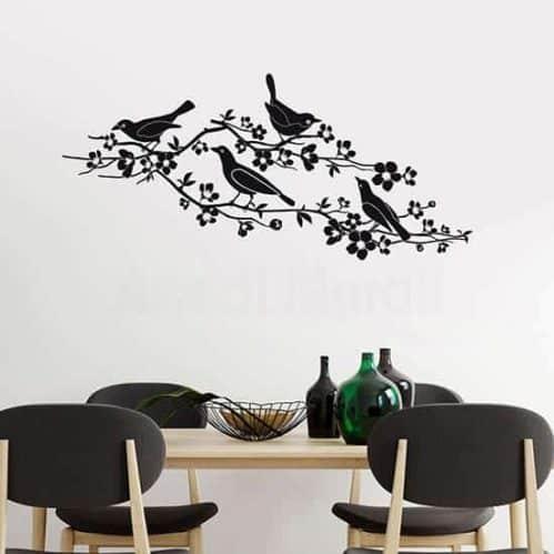 Adesivi murali fiori e uccelli