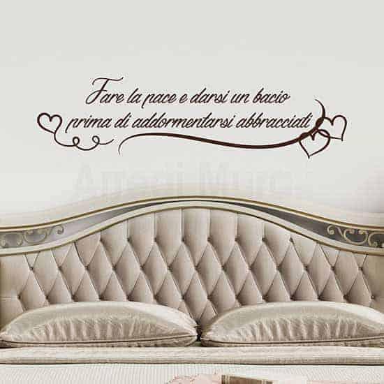 frase adesiva per le pareti della camera matrimoniale