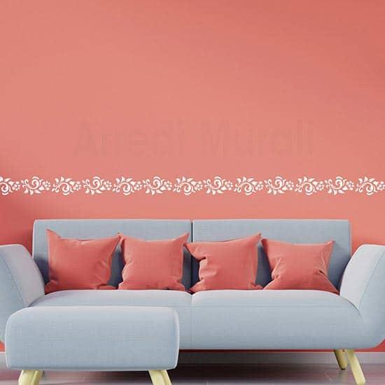 Adesivi murali con greca floreale per decori da muro