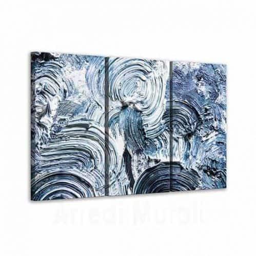 Quadri astratti moderni pennellate blu tre tele canvas
