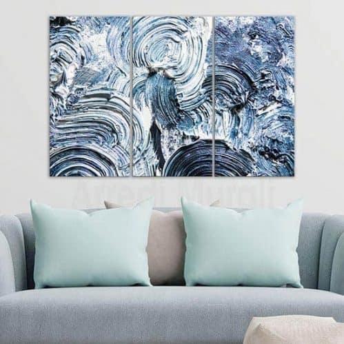 Quadri astratti moderni pennellate blu tris di tele canvas