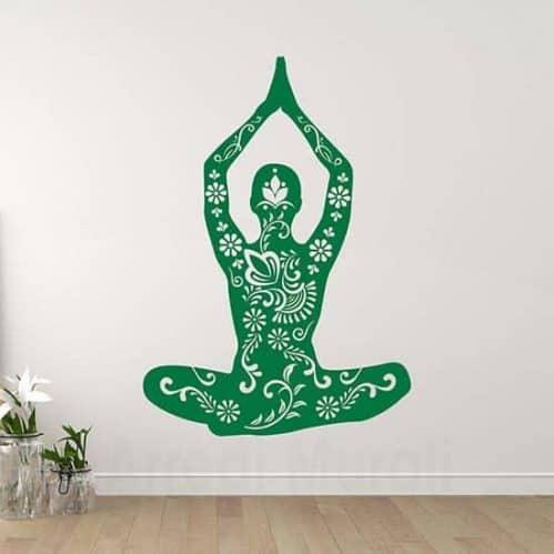 Stickers da parete posizione Yoga disegno intagliato floreale