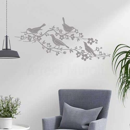 Adesivi murali fiori e uccelli, decorazioni da parete