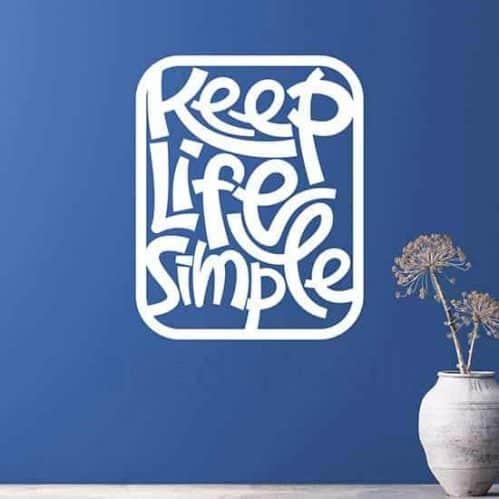 adesivo da parete Keep Life Simple bianco