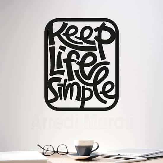 adesivo da parete Keep Life Simple nero