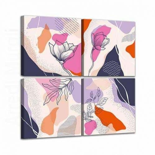4 tele colorate a tema floreale