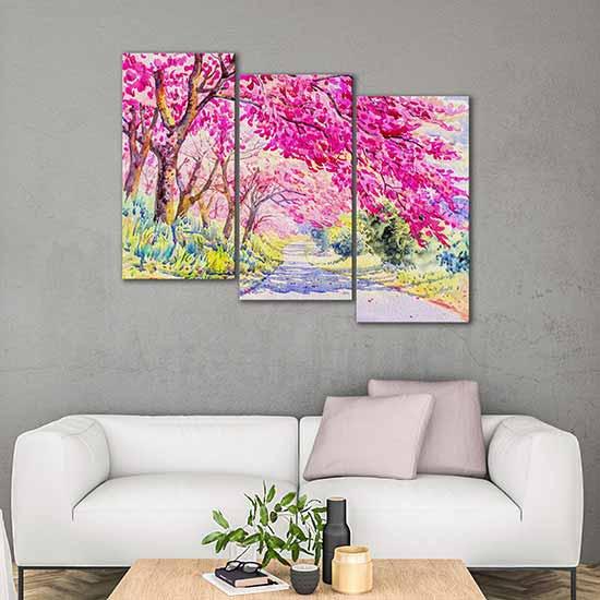 Quadri con paesaggio dipinto a olio, stampe su tela