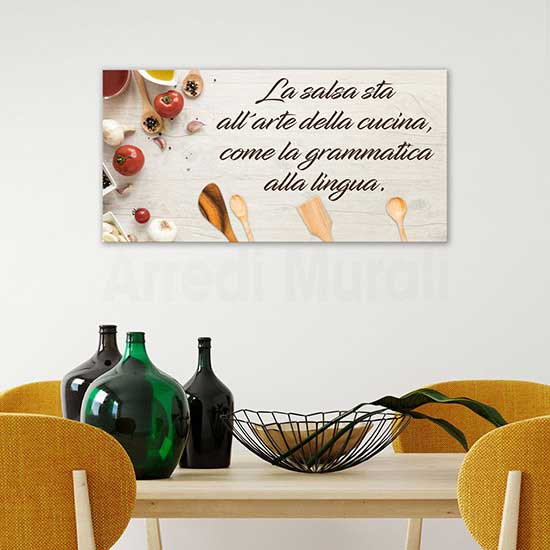 Quadro con frase per la cucina, stampa su tela