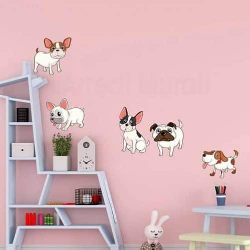 Adesivi murali cani simpatici, per decorare