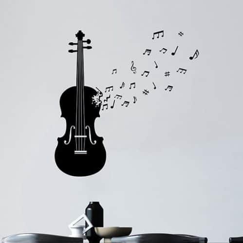 Adesivi murali violino con note, decorazioni da parete