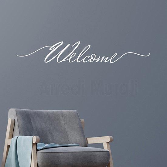 Adesivo da parete Welcome scritta adesiva bianca